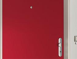 Sicherheitstüre in rot mit Türspion